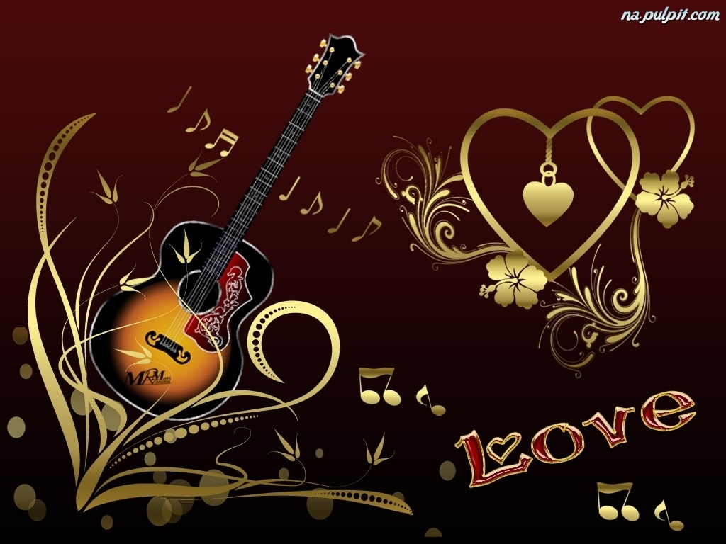 Muzyka, Serduszka, Walentynki, Gitara Na Pulpit
